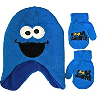 Sesame Street Cookie Monster Big Face Beanie Winter Hat and Mittens Cold Weather Set, Age 2-4