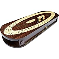 Cribbage Board Game Set with 12メタルペグ、2組のカード12メタルペグwithストレージ