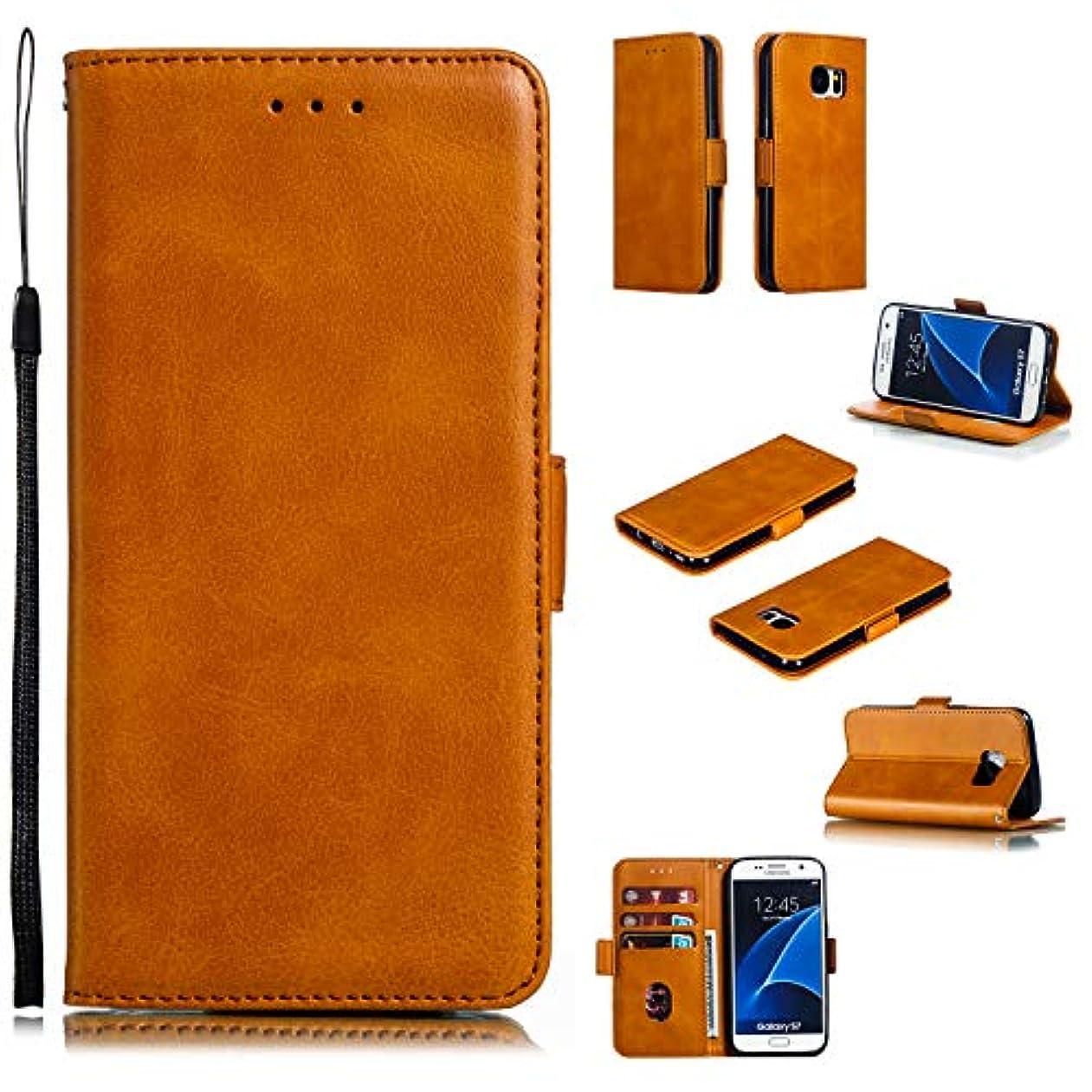センターいたずら要件Tosim Galaxy S7 ケース 手帳型 カード収納 高級PUレザー スタンド機能 マグネット ギャラクシーS7 財布型 ケース スマホケース 全面保護 衝撃吸収 スマホカバー - TOYTE010286 黄