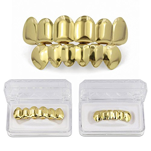 JINAO 18Kゴールドメッキ  6 Tooth トップ ボトムセット 金歯 Top Bottom...