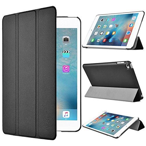【IVSO】 iPad mini 4 ケース, 三つ折 PUレザーケース スタンド機能付き マグネット式 全面保護型 開閉式 薄型 軽量 Apple mini 4タブレット専用 (ブラック)