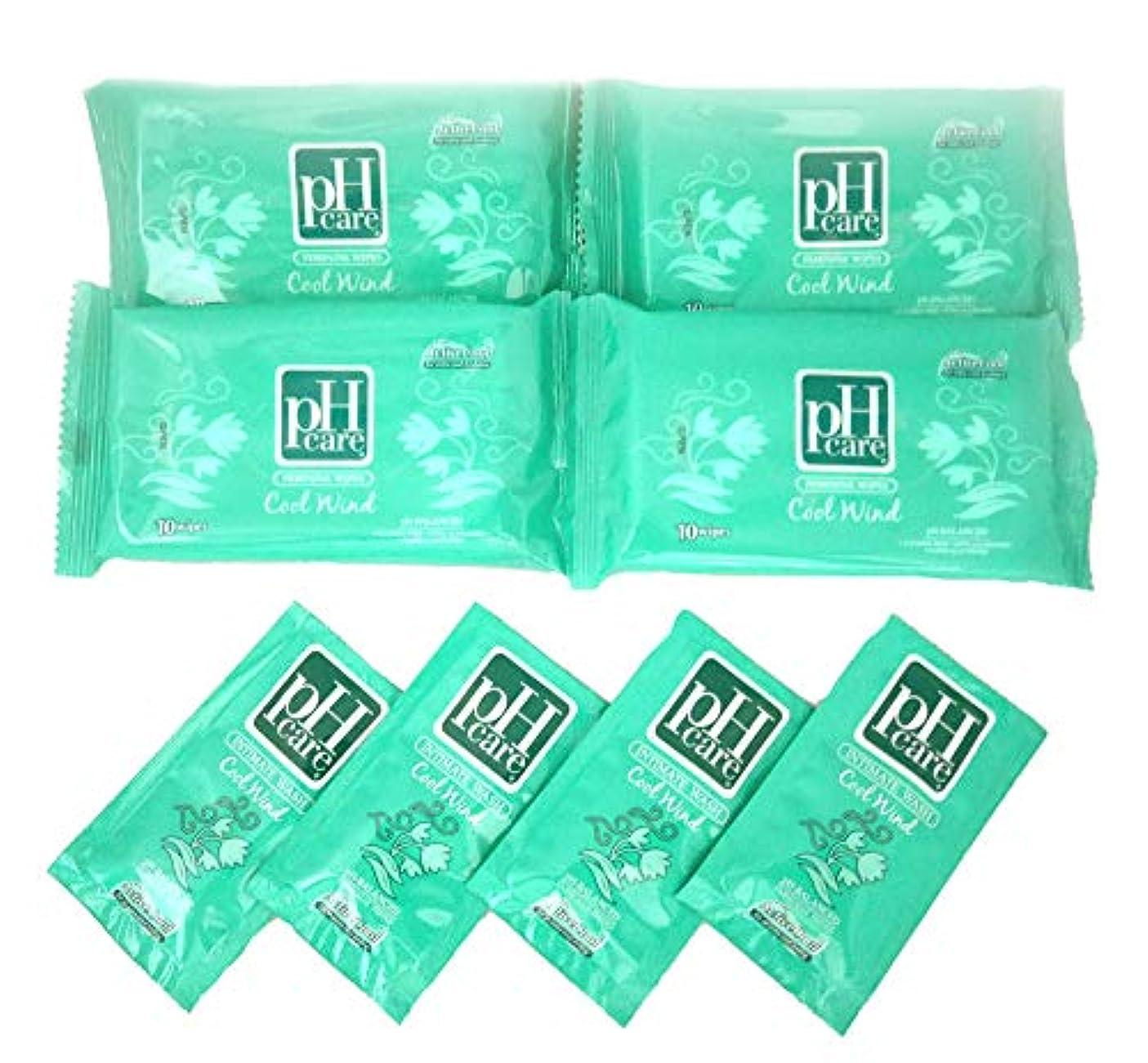 一定髄強調する(ピーエイチケア)pHcare フェミニンウェットシート クールウィンド 4袋 携帯パウチ 4袋 セット
