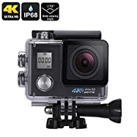 4K Sports Action Camera (Sony 16MP 1/3.2-Inch CMOS, 170-Degree Lens, 2-Inch Display, 4K Video, 16MP Photo, WiFi, IP68)