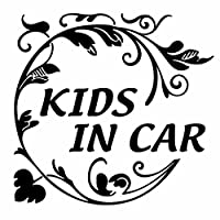 【KIDS IN CAR Ver.51 植物柄(子供が乗っています) カッティングステッカー 2枚組 幅約15cm×高約15cm】カラー:黒(ブラック)