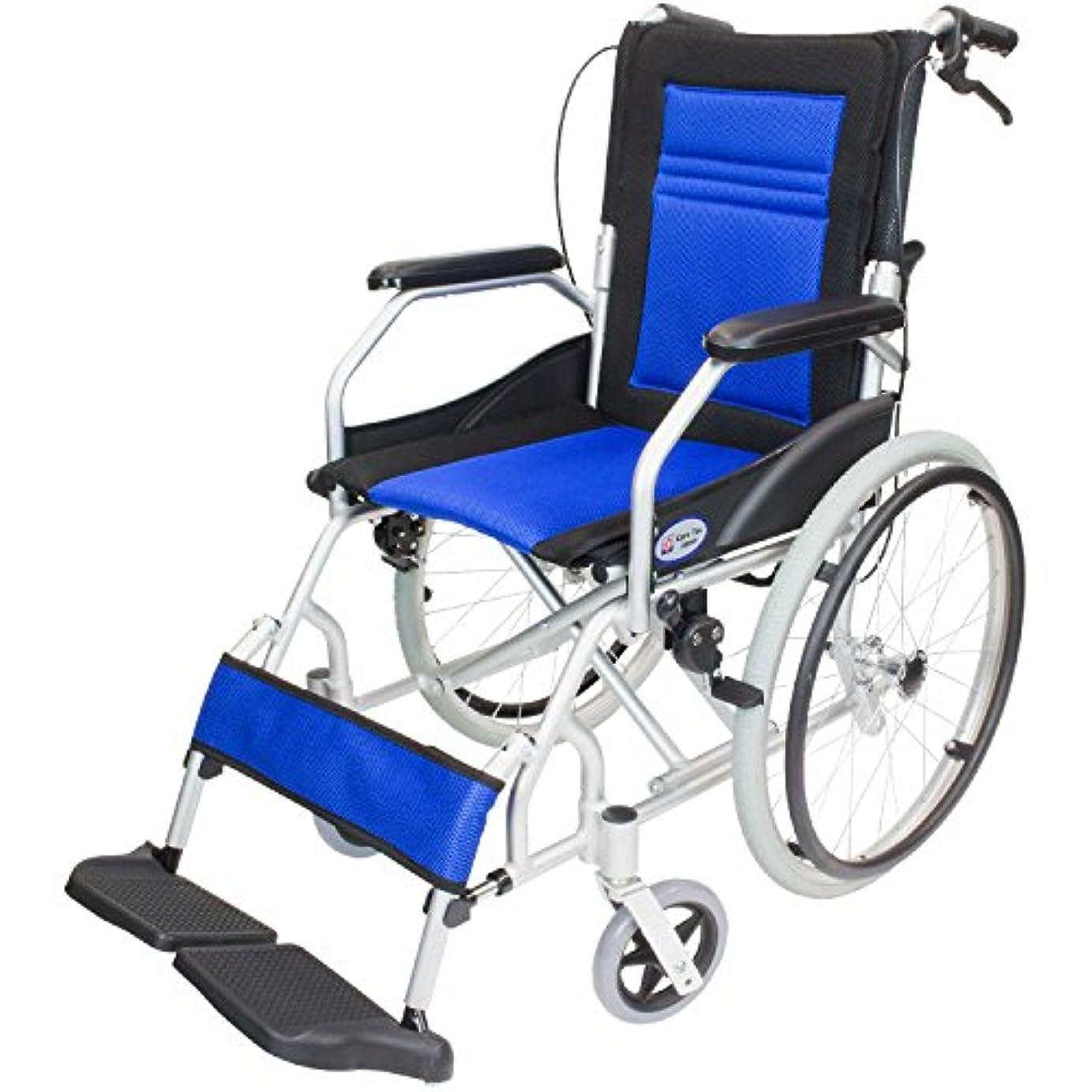 アクティブ忌避剤ティッシュケアテックジャパン 軽量 自走式アルミ製車椅子 CA-12SU ハピネスライト(ブルー)