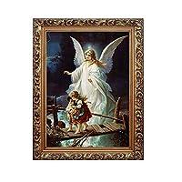 装飾的な天使の絵、子供のためのレトロの単に家の守護者の天使そして壁の装飾Crossing Bridge(包括的なフレーム),C,40x50cm