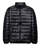 青空販売 メンズ 秋冬 軽量 ダウンジャケット コート スタンドカラー (L, ブラック)