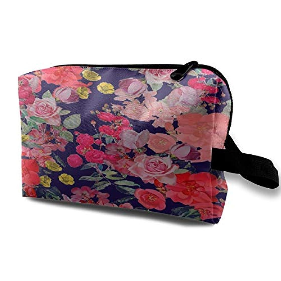 反映する自動化有毒Antique Floral Print Navy 収納ポーチ 化粧ポーチ 大容量 軽量 耐久性 ハンドル付持ち運び便利。入れ 自宅・出張・旅行・アウトドア撮影などに対応。メンズ レディース トラベルグッズ