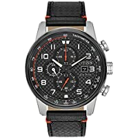 Citizen Men's Eco-Drive Stainless Steel Japanese-Quartz Watch with Leather Calfskin Strap, Black (Model: CA0681-03E