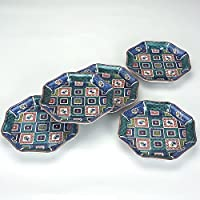 【九谷焼】6.5号皿揃 石畳 木箱入