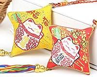 中華風結び飾り つるし飾り 両面刺繍小物 車内装飾品 中国雑貨 お土産 贈り物 巾着 お祭り インテリア飾り インベント (招き猫つるし飾り)