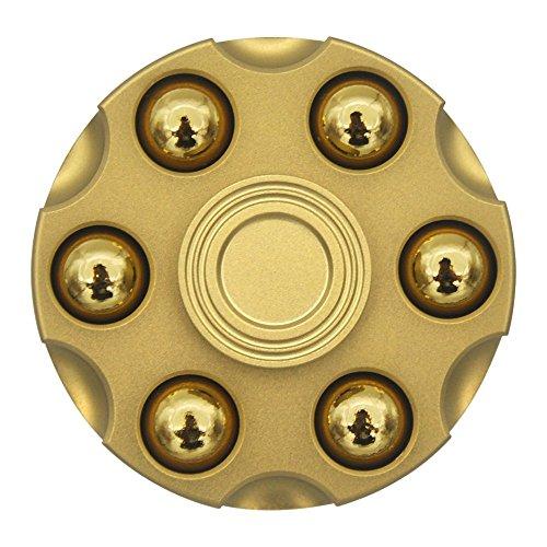 Hand spinnerハンドスピナー フォーカスおもちゃ指スピナー 玩具 Fidget Spinner銅 弾丸取り外す可能 アルミ製 贈り物 父の日 リボルバー(ゴールド)