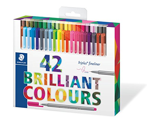 [해외]Staedtler 컬러 펜 세트~ 334 C42 세트 42 아소토 색상 (Triplus Fineliner 펜)/Staedtler color pen set~ set of 334 C42 42 assort color (Triplus Fineliner pen)