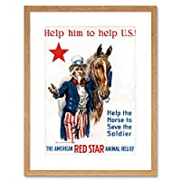 Vintage Ad War WWI USA Charity Red Star Uncle Sam Horse Framed Wall Art Print アメリカ合衆国