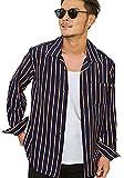 (キャバリア)CavariA メンズ オープンカラー 長袖 シャツ ストライプ柄 スキッパー ストレッチ 大きいサイズ 44(M) NAVY(ネイビー)