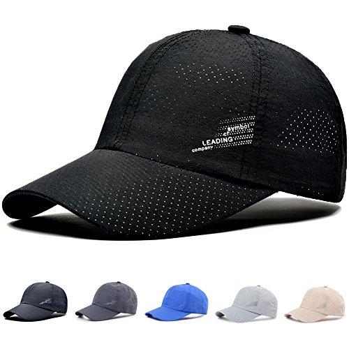 キャップ 帽子,WOOSOO 夏 秋 メッシュキャップ 通気性抜群 日除け UVカット 紫外線対策 男女兼用 登山 釣り ゴルフ 運転 アウトドアなどに 無地 全7色 (ロゴ-ブラック)