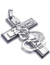 [テメゴ ジュエリー]TEMEGO Jewelry メンズステンレススチールヴィンテージペンダントゴシッククロスドラゴンネックレス、シルバー[インポート]