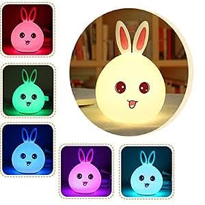 Wen&Cheng ベッドサイドランプ バニーLEDナイトライト 動物ライト USB充電式ソフトシリコン 子供用ナイトランプ ベッドルームライト 間接照明 (ブルー)