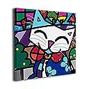 King Duck ネコ 木 絵画 正方形 インテリア インナー フレーム装飾画 アートポスター 額縁なし 壁画 アートパネル 壁掛け 木枠付き 20 x20