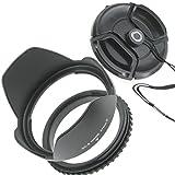 ZEROPORT JAPAN 花形レンズフード 62mm 反転収納OK ねじ込み式 各レンズメーカー対応 レンズキャップ付 ZPJGREENhanten62CAP