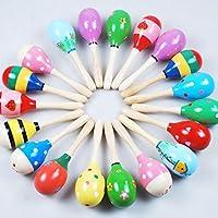 ベビーキッズ教育玩具、ftxjかわいいミニ木製ボール子供玩具パーカッション楽器砂ハンマーマルチカラー
