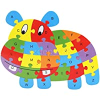 Hippo動物木製パズルアルファベット文字ブロックPreschool子供Learing Toy