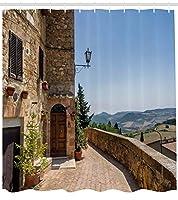 """イタリアインテリアシャワーカーテンby Ambesonne、The Walls of Pienza in Tuscany Historical European Landmark、ファブリックバスルームDecorセットフック付き、ライトブラウングリーンライトブルー 69"""" W By 75"""" L sc_34893_long"""
