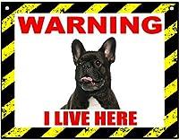 警告私はここに住んでいます 金属スズヴィンテージ安全標識警告サインディスプレイボードスズサインポスター看板建設現場通りの学校のバーに適した