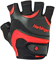 Harbinger Men's Flexfit Weightlifting Gloves with Flexible Cushioned Leather Palm (P