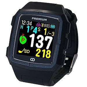 GreenOn(グリーンオン) ゴルフナビ GPS ザ・ゴルフウォッチ プレミアム カラーモデル[ブラック×ブラック] 高精度 スマホ連動 スタンスチェック機能付