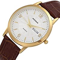 woonunスタイリッシュなシンプルさメンズレザーバンドJapanese Quartz Date Day Wrist Watches Ultra Thin Watches gold-white