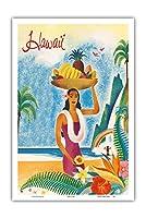ハワイ - ハワイの旅行者のパンフレット - ビンテージな世界旅行のポスター c.1952 - アートポスター - 31cm x 46cm