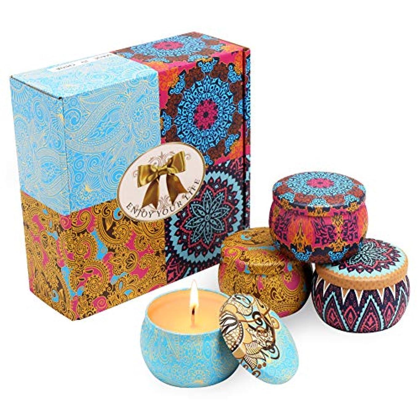 旅最も遠い寺院アロマキャンドル MANLI ソイワックス 天然 大豆ワックス 4つ香り 果物の香り 4個セット キャンドル アロマテラピー ロウソク バレンタインデー プレゼント ロマンチック 結婚式 誕生日(四セット)