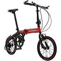 ドッペルギャンガー(DOPPELGANGER) 16インチ 折りたたみ自転車 [パラレルツインフレーム] シマノ7段変速 アルミニウム製 52T レッドxマットブラック 104-R-RD