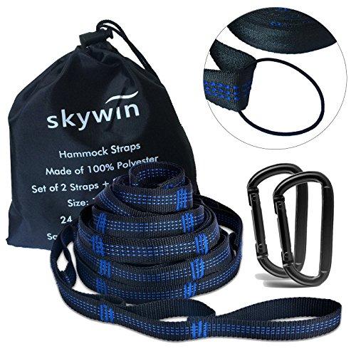SKYWINハンモックストラップキャンプハンモック用 耐荷重300kg カラビナ付き2本セット軽量で簡単設置