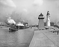 Restoredブラック&ホワイトフォト–Historicバッファロー、ニューヨーク–Tugコーネルとバッファローメインライト、c1907 44in x 36in BUF100197_4436
