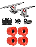 Caliber Raw Longboard Trucksホイールパッケージ65 mm x 51.5 MM 83 A 485 Cレッド