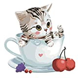 DIYデジタル油絵、yalatanペイントby Numberキットセット/装飾用painting-15.7519.7inch / Suits初心者用 Cute Cat With Cup