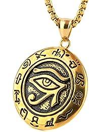 HZman Men 'sステンレススチールエジプトホルスの目の保護のシンボルペンダントネックレス