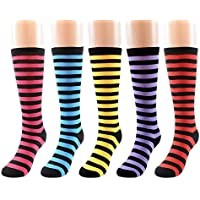FULIER Women's Long Striped Thigh High Winter Socks 5 Pack Colorful Fashion Knee Hight Stockings
