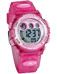 Lancardo キッズ 腕時計 子供用 防水 女の子 デジタル表示 可愛い 小学生ウォッチ アラーム カレンダー 12/24切り替え ピンク