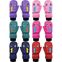 Cooraby 6 Pairs Kids Snow Mittens Winter Warm Cotton-lined Ski Gloves for Cold Weather