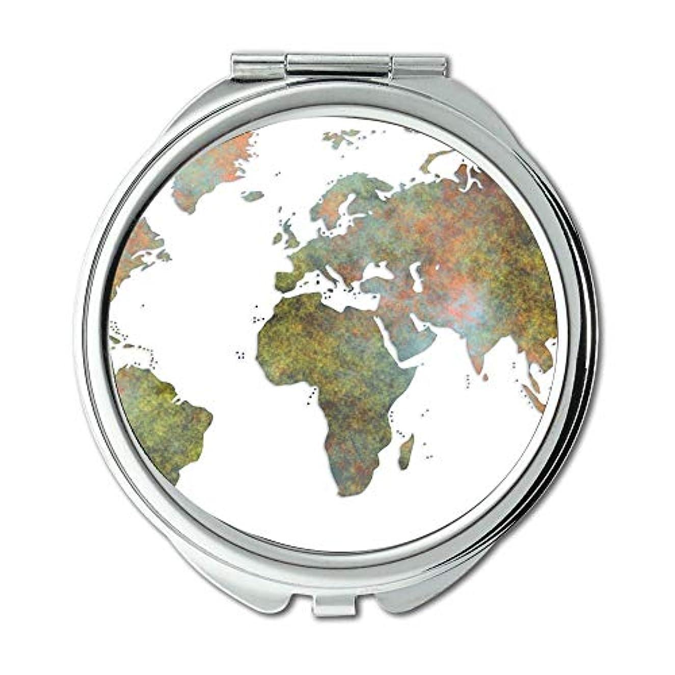 漏斗常習者パッケージポケットミラー、コンパクトミラーラウンドコンパクトミラー男性/女性MT 090の両面、世界地図ウォレットミラー