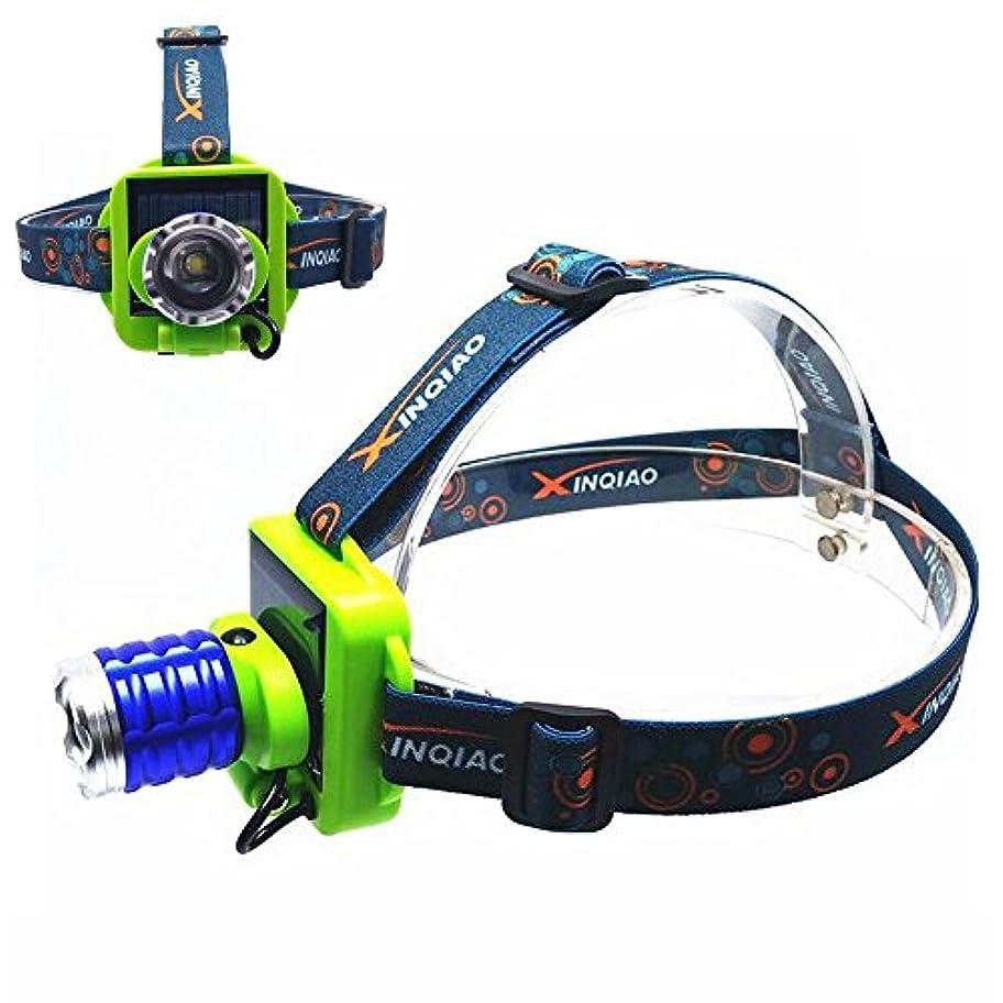 熟す色合い想定するUSB、3モードヘッドライト付き強力なソーラー充電式LEDヘッドライトサンパワーヘッドトーチライトランプ、キャンプ用防水、屋外スポーツ(1PCS) HJKL