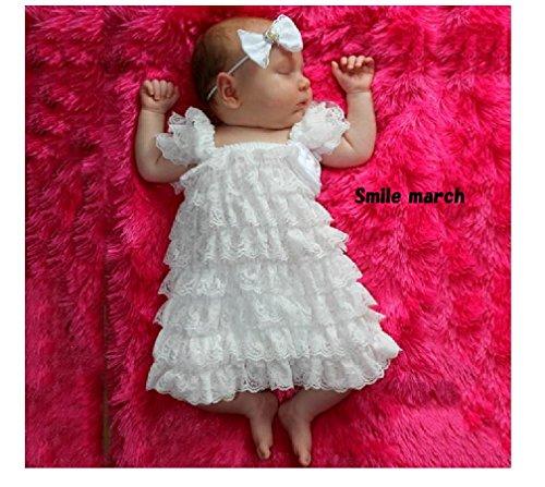 Smile march (スマイルマーチ) <女の子 可愛い ベビー ドレス > ホワイト レース リボン 新生児 記念 写真 プレゼント 祝い a109 (S)