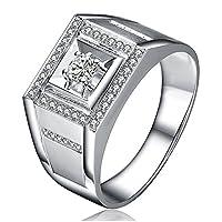 14Kホワイトゴールドウェディング婚約ファッションリングをデートメンズ人気の本物の天然ダイヤモンド