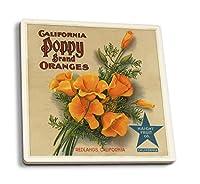 California Poppyブランド–レッドランズ–Citrusクレートラベル 4 Coaster Set LANT-57266-CT