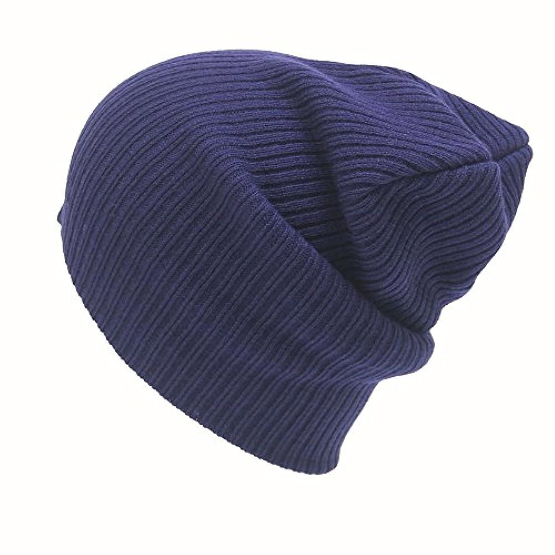 一回スリップシューズ植物のRacazing 選べる7色 ニット帽 編み物 ストライプ ニット帽 防寒対策 通気性のある 防風 暖かい 軽量 屋外 スキー 自転車 クリスマス Hat 男女兼用 (ネービー)