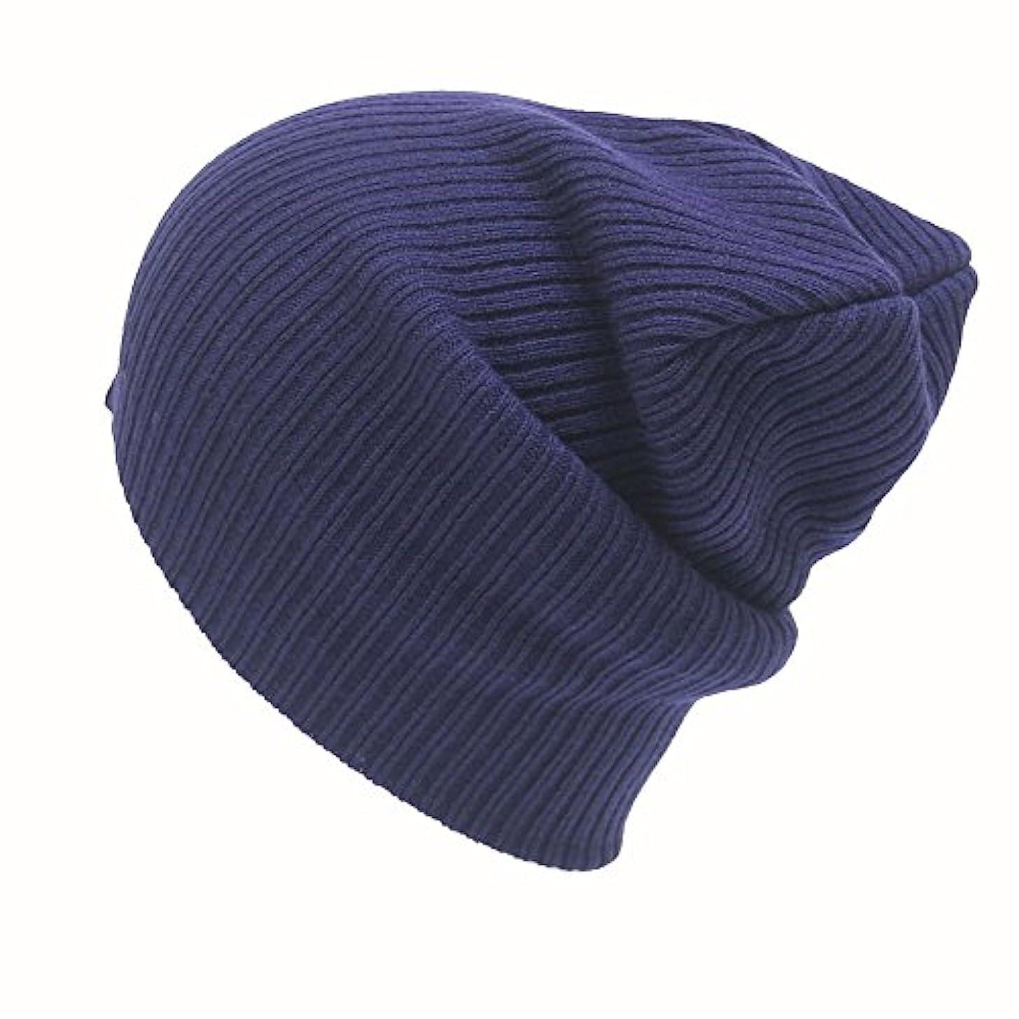 ブラウズスリムなんとなくRacazing 選べる7色 ニット帽 編み物 ストライプ ニット帽 防寒対策 通気性のある 防風 暖かい 軽量 屋外 スキー 自転車 クリスマス Hat 男女兼用 (ネービー)
