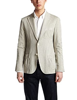 Cotton Silk Stripe Jersey Safari Jacket 1122-110-3627: Navy